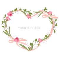 Floral heart with pink bows vector