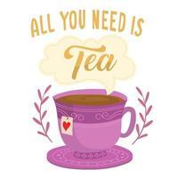 taza de té con burbuja de texto vector