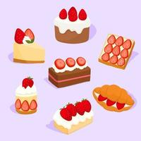 Set of various strawberry pies vector