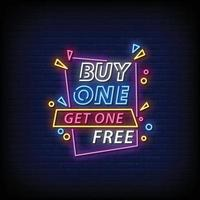 Buy One Get One Free Neon Signs Style Text Vector