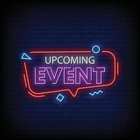 Upcoming Events Neon Signs Style Text Vector