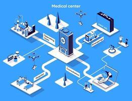 Medical center 3d isometric web banner vector