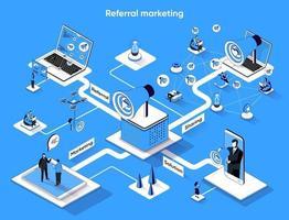 Referral marketing 3d isometric web banner vector