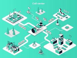 Call center 3d isometric web banner vector