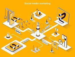 Social media marketing 3d isometric web banner vector