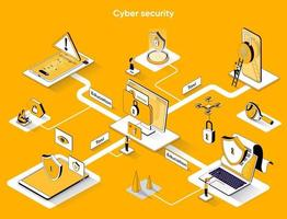 Cyber security 3d isometric web banner vector