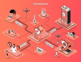 Coronavirus 3d isometric web banner vector