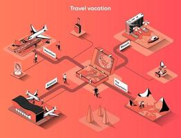 Travel vacation 3d isometric web banner vector