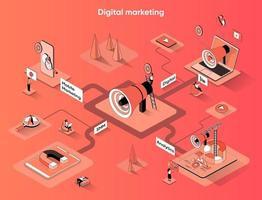 Digital marketing 3d isometric web banner vector
