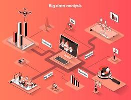 Big data analysis 3d isometric web banner vector