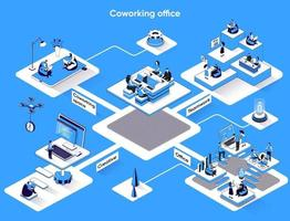 Coworking office 3d isometric web banner vector