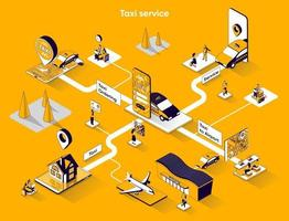 Taxi service 3d isometric web banner vector