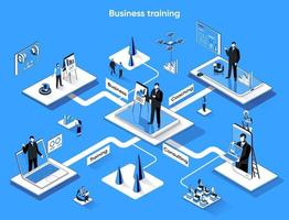 Business training 3d isometric web banner vector