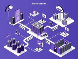 Data center 3d isometric web banner vector