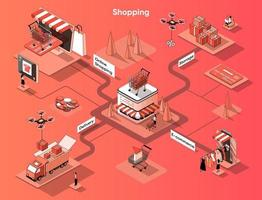 Shopping and commerce 3d isometric web banner vector