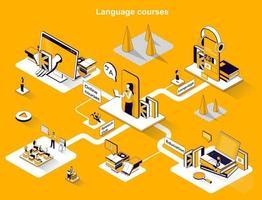 Language courses 3d isometric web banner vector