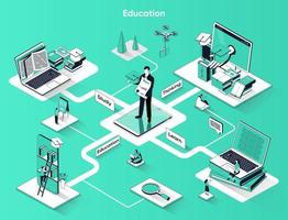 Education 3d isometric web banner vector