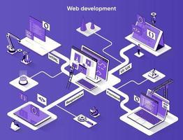 Web development 3d isometric banner vector