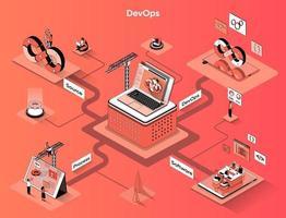 DevOps 3d isometric web banner vector
