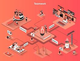 Teamwork 3d isometric web banner vector