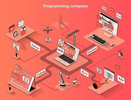 Programming company 3d isometric web banner vector