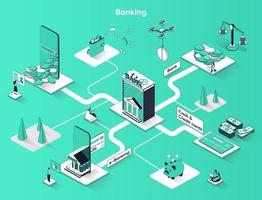 Banking services 3d isometric web banner vector