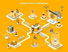 Cryptocurrency marketplace 3d isometric web banner vector