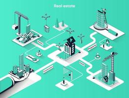 Real estate 3d isometric web banner vector