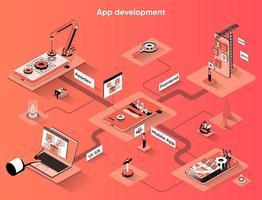 App development 3d isometric web banner vector
