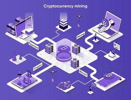 Cryptocurrency mining 3d isometric web banner vector