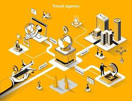Travel agency 3d isometric web banner vector