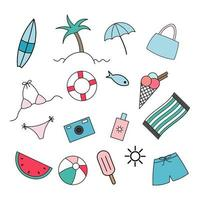 Set of Summer Holiday Beach Day Flat Vector Icons