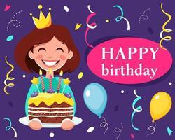 Happy birthday greeting card  Girl with birthday cake vector
