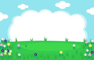 Cute beautiful garden background with cloudy sky with flowers vector