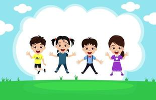 Happy cute kid boys and girls character wearing beautiful outfit jumping on garden background celebrating with sky flowers vector