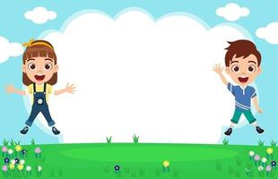 Happy cute kid boy and girl character wearing beautiful outfit jumping on garden background celebrating with sky flowers vector
