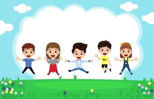 Happy cute kid boys and girls character wearing beautiful outfit jumping on garden background celebrating with sky flower vector