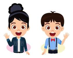 Cute kid boy and girl character wearing beautiful outfit on white background and waving vector
