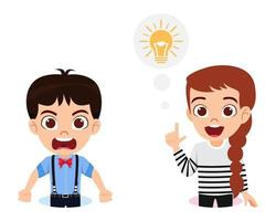 Cute kid boy and girl character wearing beautiful outfit on white background with idea symbol and angry expression vector