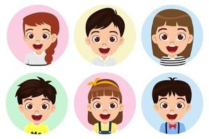 Happy cute kid boys and girls character avatar set on white background colorful vector