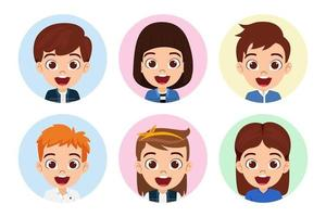 Happy cute kid boys and girls character avatar set on white background isolated vector