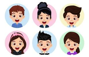 Happy cute kid boys and girls character avatar set on white background vector