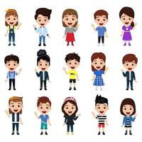 Happy cute kid boys and girls character set wearing beautiful outfit standing on white background isolated vector