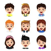Happy cute kid boy and girl character avatar set in circle shape isolated vector