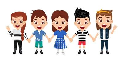 Happy cute kid boys and girls character wearing beautiful outfit standing holding hands together and posing isolated on white background vector
