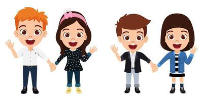 Happy cute kid boys and girls character wearing beautiful outfit standing holding hands together and waving isolated on white background vector