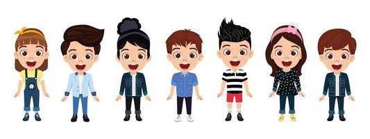 Happy cute kid boys and girls character wearing beautiful outfit standing and posing isolated on white background vector
