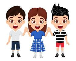 Happy cute kid boys and girls character wearing beautiful outfit standing holding hands together and posing vector
