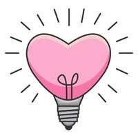 heart shaped pink lamp glowing illustration vector