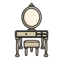 Dressing table with mirror in classic style illustration vector